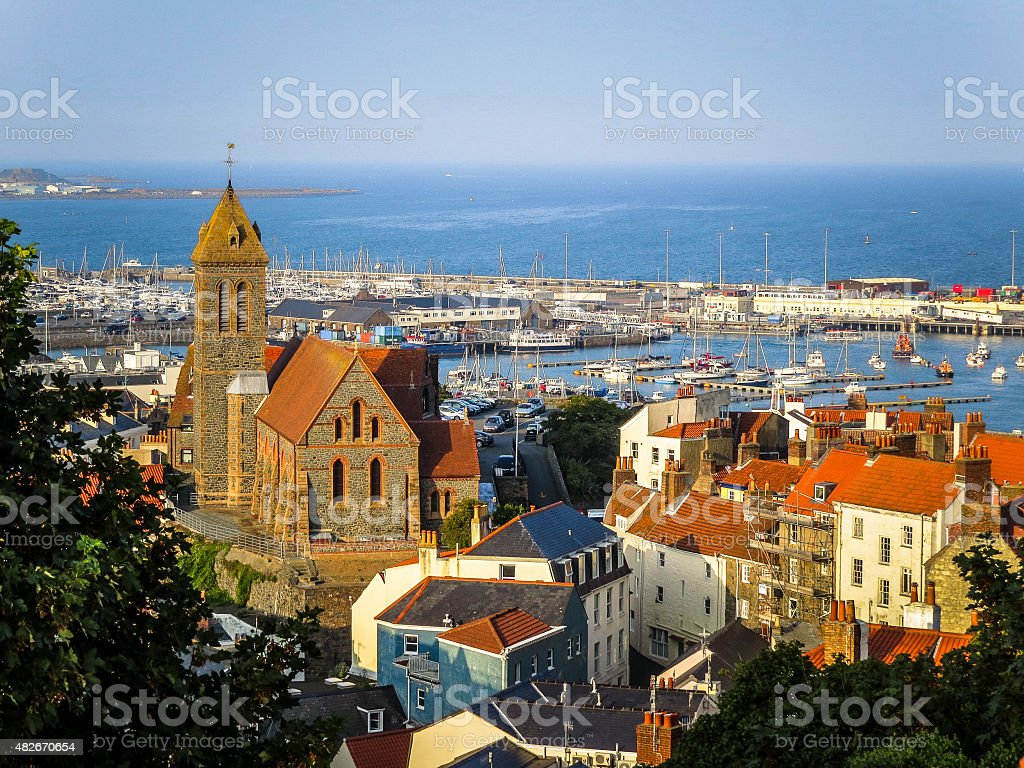 View of the Saint Peter Port at sunrise stock photo