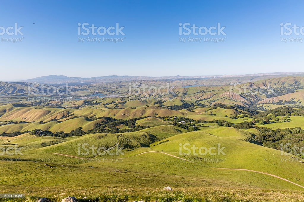 View of the San Francisco Bay area from Mission Peak stock photo