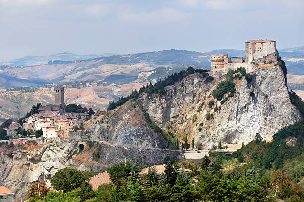 View of the San Leo Fortress and town stock photo