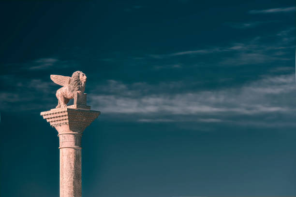 View of the San Marco´s winged Lion statue on a Column in Puerto Madero neighbourhood, Buenos Aires City, Argentina stock photo
