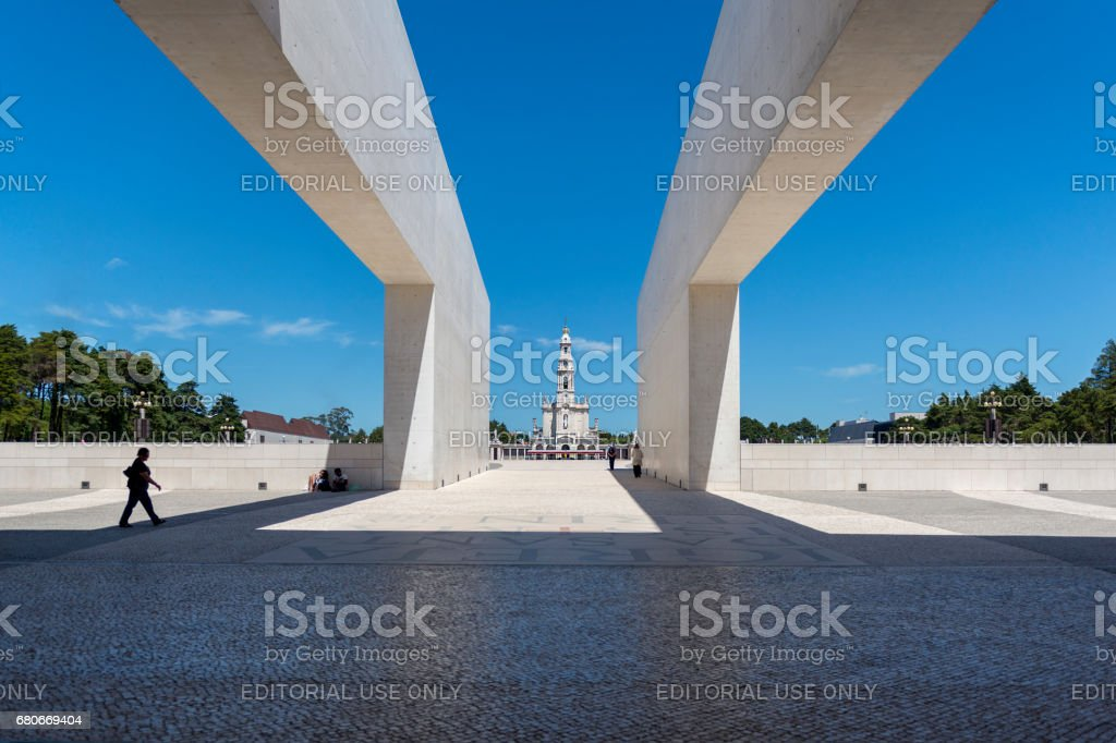 View of the Sanctuary of Fatima during the celebrations of the apparition of the Virgin Mary in Fatima, Portugal. stock photo