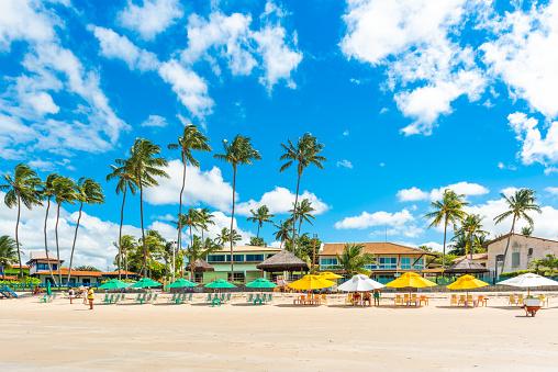 View of the sandy beach of Porto de Galinhas, Ipojuca, Brazil. Copy space for text.