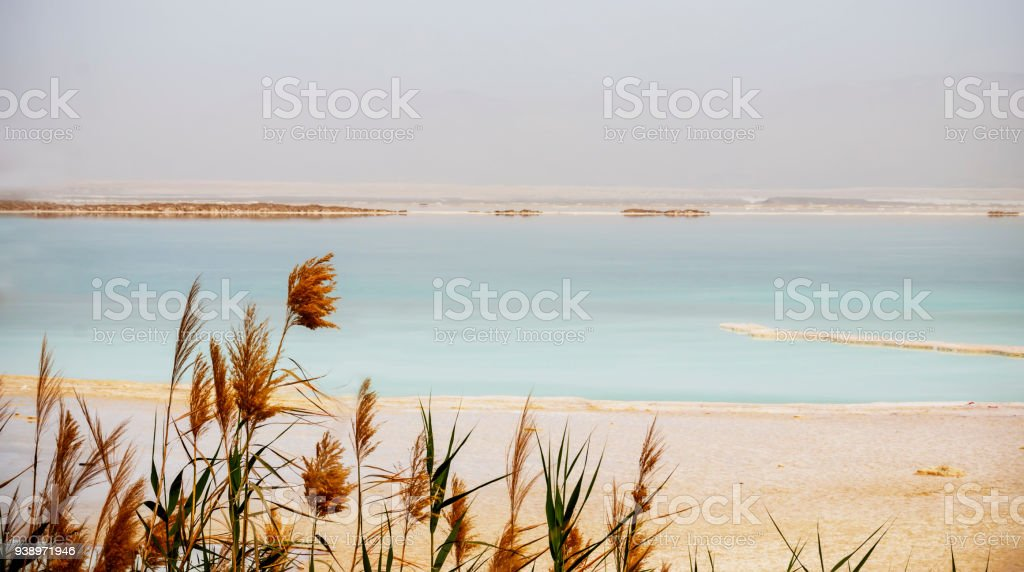 View of the sandy shore and turquoise water of the Dead Sea stock photo