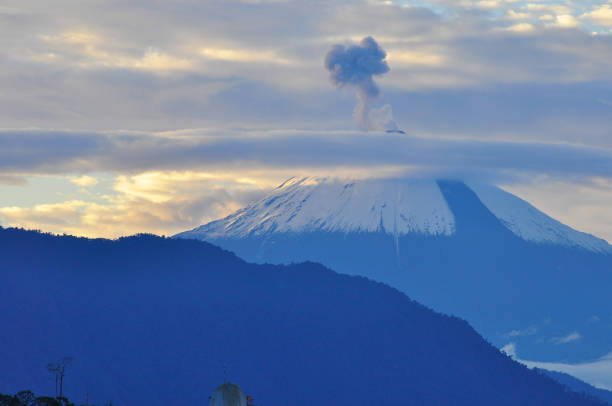 A view of the Sangay Volcano in Ecuador with small eruptions stock photo