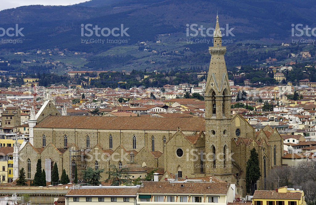 View of the Santa Croce church, Florence. Tuscany, Italy. royalty-free stock photo
