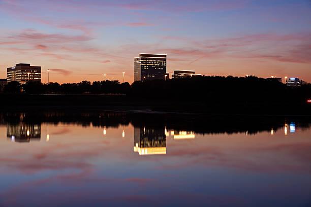 View of the Schaumburg, Illinois skyline at sunset stock photo
