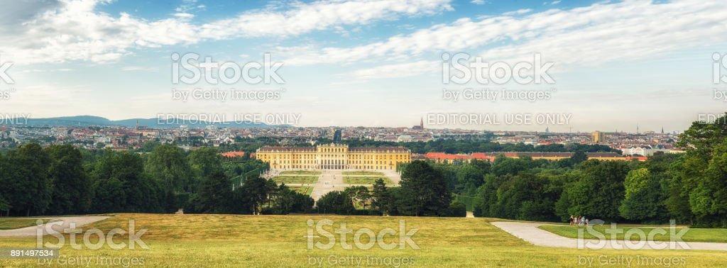 View of the Schönbrunn, summer palace of the Habsburgs, Vienna, Austria stock photo