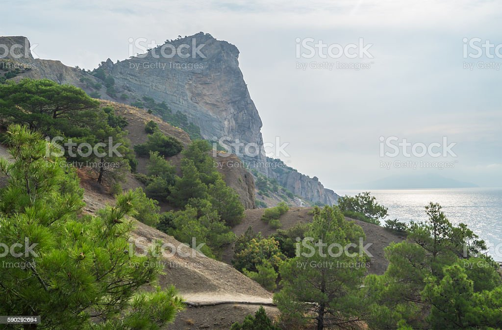 View of the sea and the mountains royaltyfri bildbanksbilder