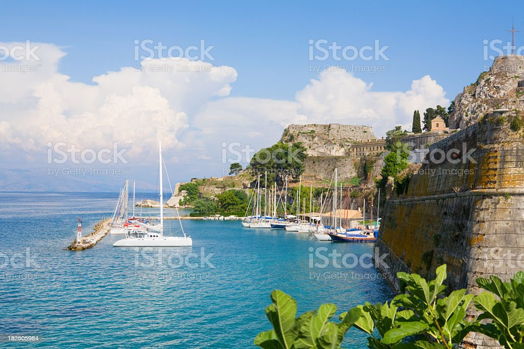 View of the sea by Kerkira old fortress stock photo