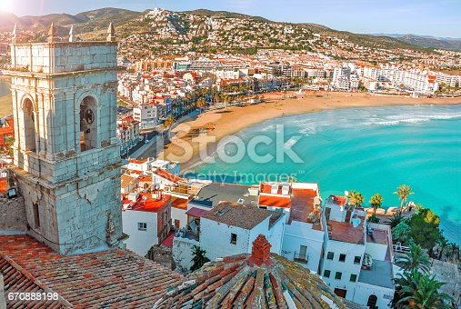 istock View of the sea from a height. Peñíscola, Castellón, Spain. Beautiful view of the sea and the bay. 670888198