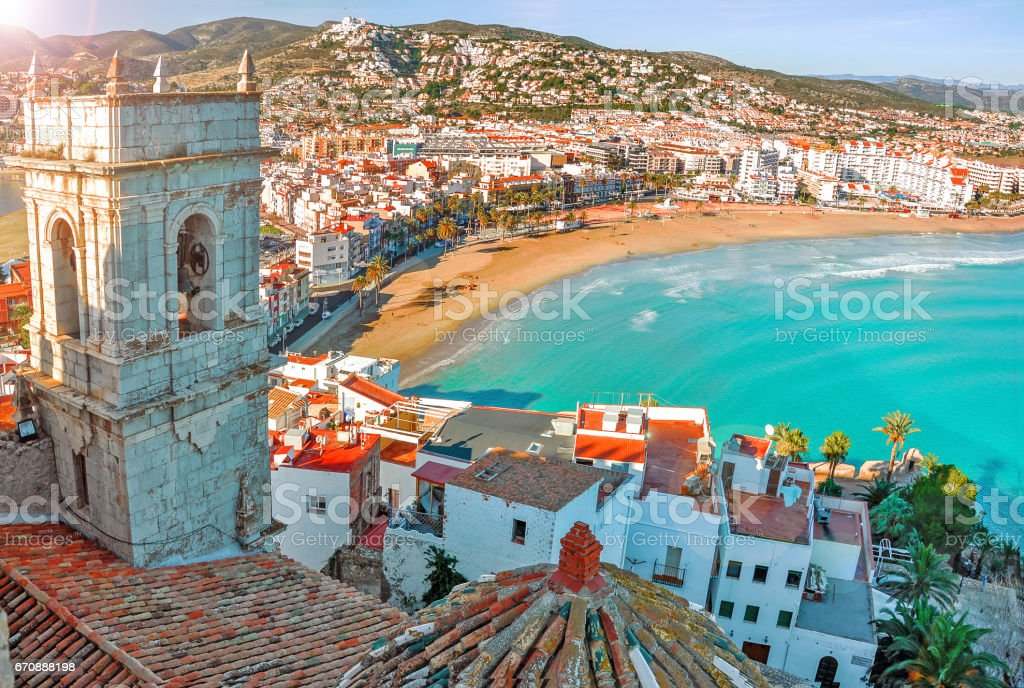 View of the sea from a height. Peñíscola, Castellón, Spain. Beautiful view of the sea and the bay. stock photo