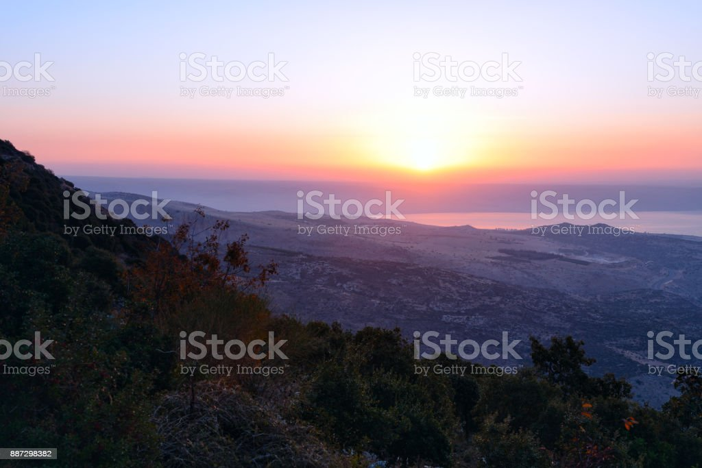 View of the sea of Galilee (Kineret lake) from mountain stock photo