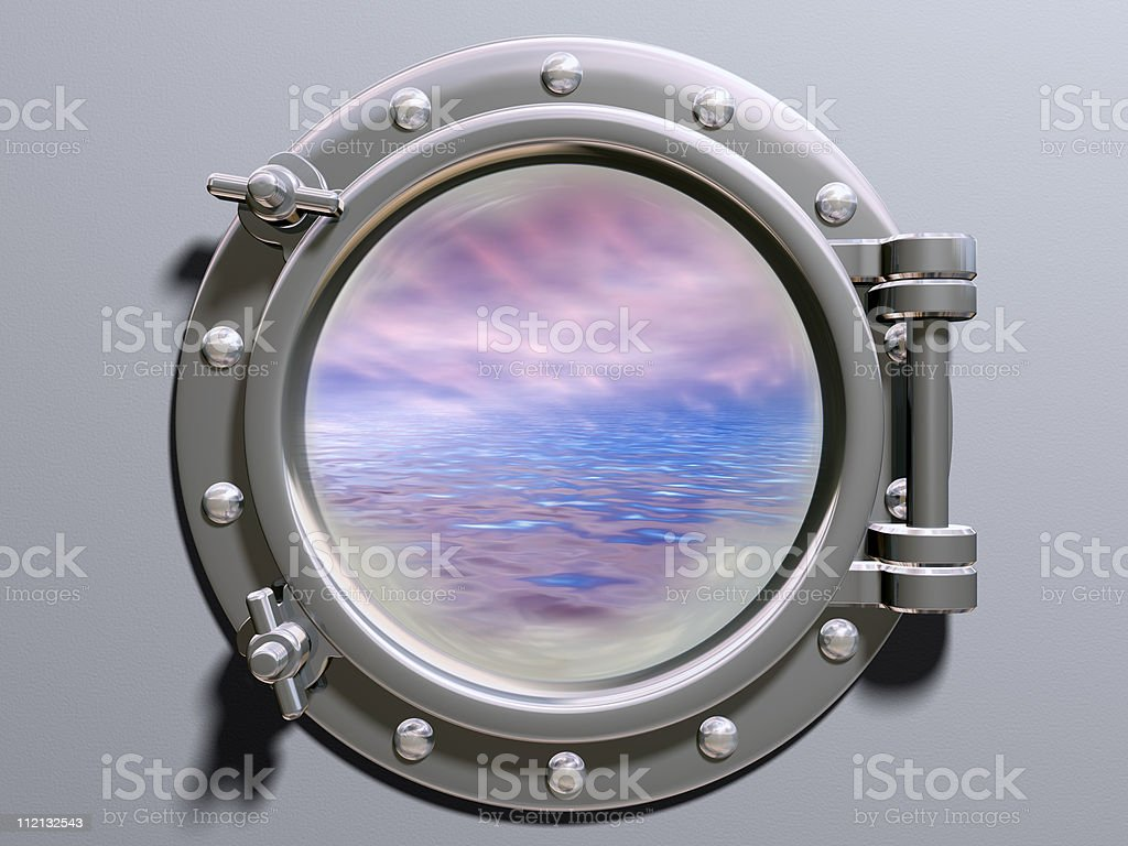 View of the sea through the porthole  stock photo