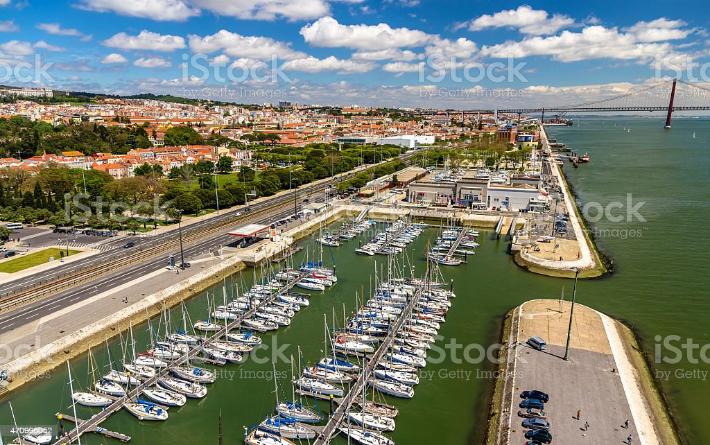 View of the seafront in Lisbon, Portugal stock photo