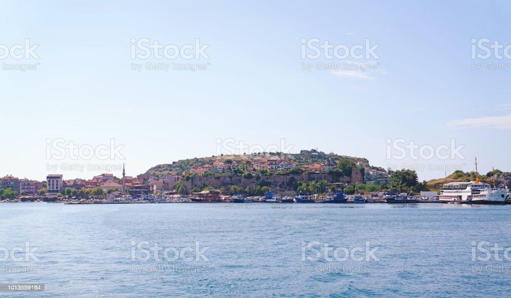 Bir seaside resort kasaba Amasra görünümünü stok fotoğrafı