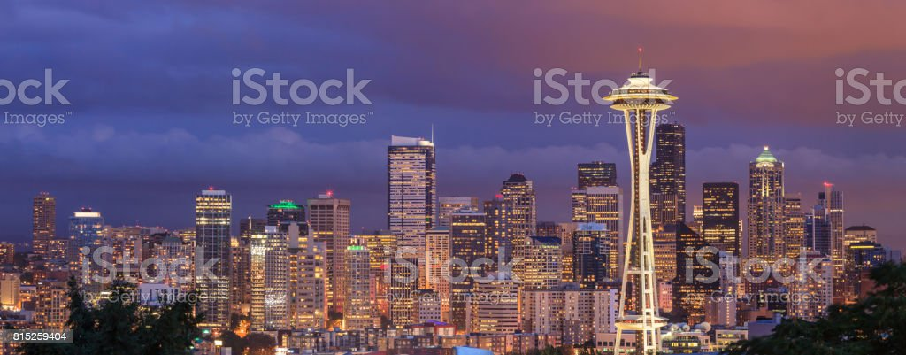 View of the Seattle city from Kerry Park, Washington stock photo