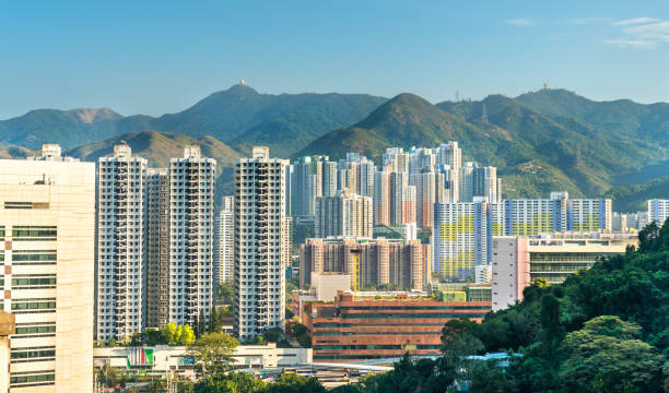 View of the Sha Tin District in Hong Kong, China View of the Sha Tin District at East New Territories of Hong Kong. China new territories stock pictures, royalty-free photos & images