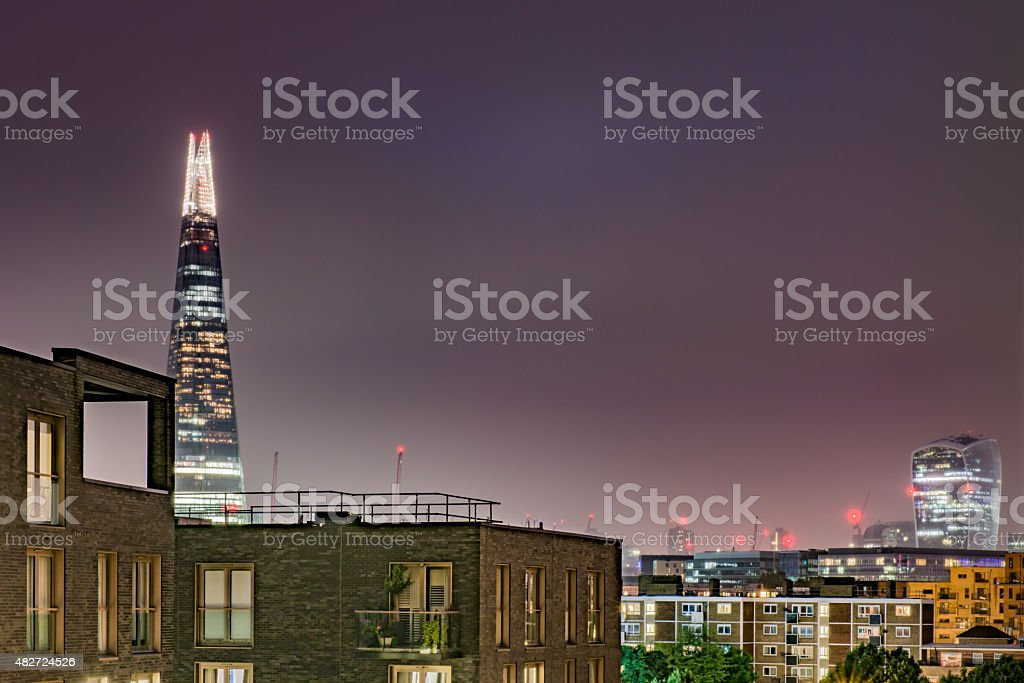 View of the Shard skyscraper and the Walkie Talkie, London stock photo