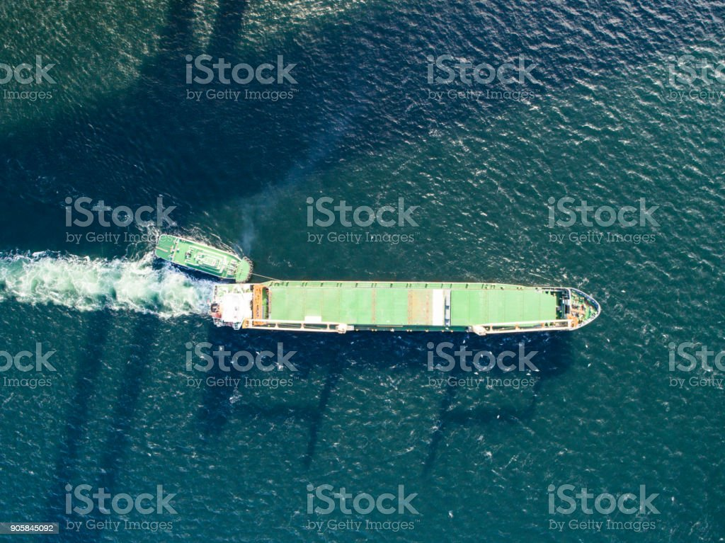 A view of the ship viewed from the sky. stock photo