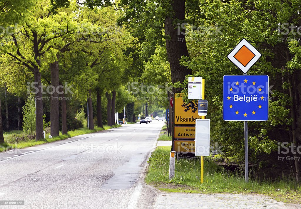 A view of the signs at the Belgian border stock photo