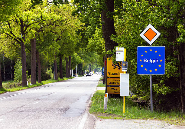 A view of the signs at the Belgian border Sign to mark the border of Flanders (Vlaanderen), Belgium belgium stock pictures, royalty-free photos & images