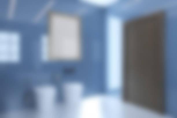 Vista do dissipador, do toalete e do bidet em um grande banheiro moderno com portas marrons.. rendição 3D. Unfocused - foto de acervo
