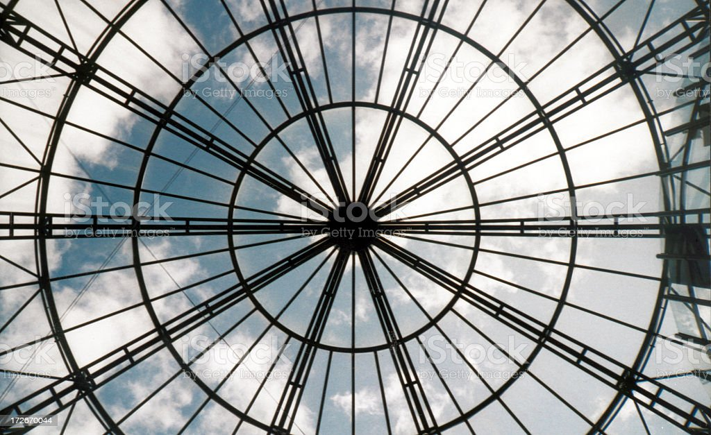 View of the sky from a skylight window piece with black royalty-free stock photo