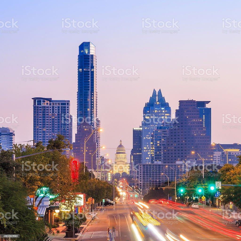 View of the Skyline Austin stock photo