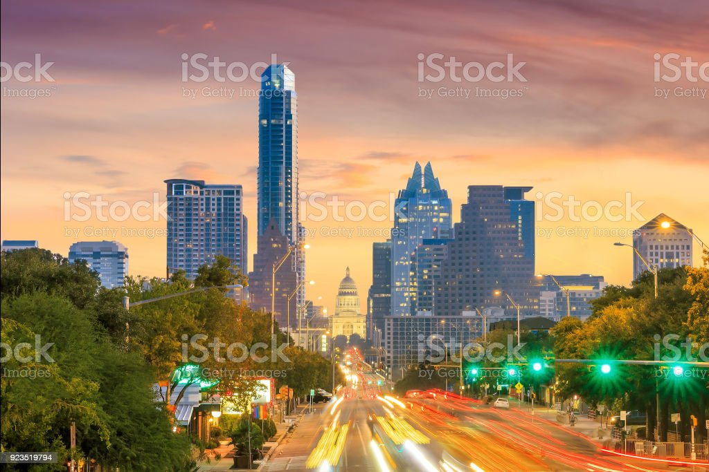 A View of the Skyline Austin stock photo