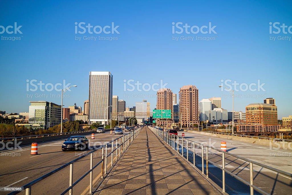 View of the skyline in Richmond, Virginia. royaltyfri bildbanksbilder
