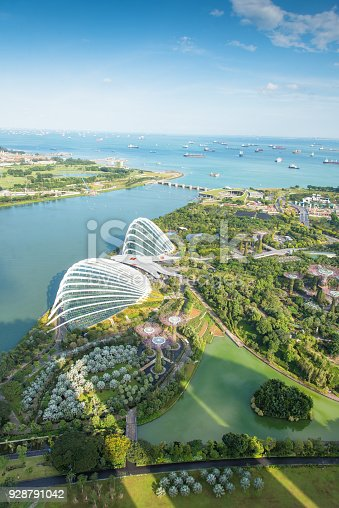 Panoramic  view of the Singapore Skyline and Marina Bay, the marina is the centre of the economy in singapore, there are here all the building of all the majors bank and insurance.