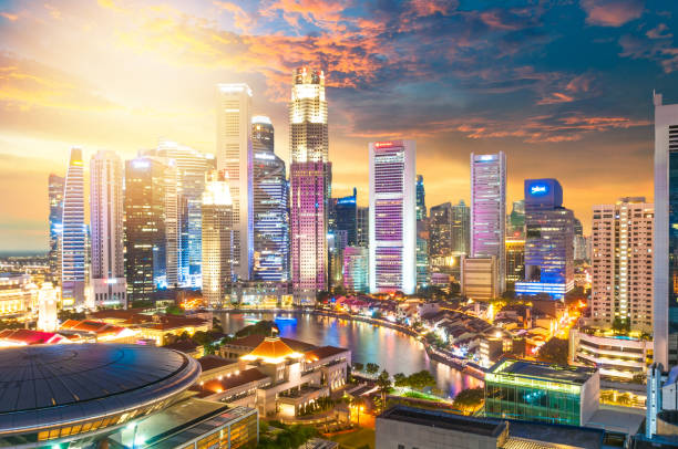 view of the skyline of singapore downtown cbd - singapore foto e immagini stock