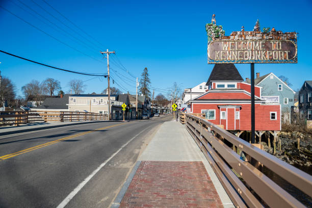 View of the small village of Kennebunkport, Maine, USA stock photo