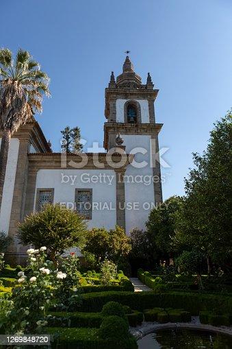 Vila Real / Portugal - 08 01 2020: View of the Solar de Mateus exterior building, with exterior garden, iconic of the 18th century Portuguese baroque