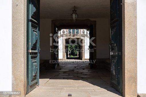Vila Real / Portugal - 08 01 2020: View of the Solar de Mateus interior building, door with nice view to the exterior garden