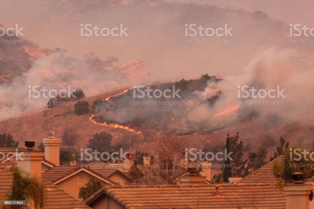 A view of the spreading flames from the Canyon Fire 2 wildfire in Anaheim Hills and the City of Orange stock photo