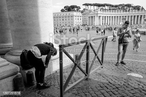 Rome, Italy, May 20 -- Rome in Black & White series. A view of the St. Peter's Square from the Bernini's Colonnade, with incidental people.
