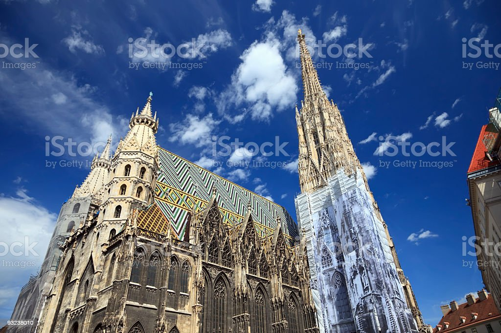 A view of the St. Stephan cathedral from the ground stock photo