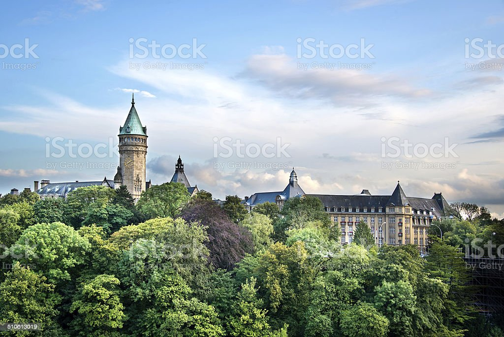View of the State Savings bank, Luxembourg stock photo