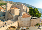 Dubrovnik, Croatia - October 20, 2018:  View of the stone bridge between two parts of the walled city of Dubrovnik in Croatia