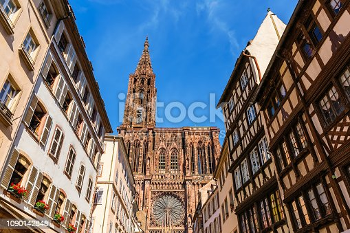 view of the Strasbourg Cathedral in Strasbourg, France