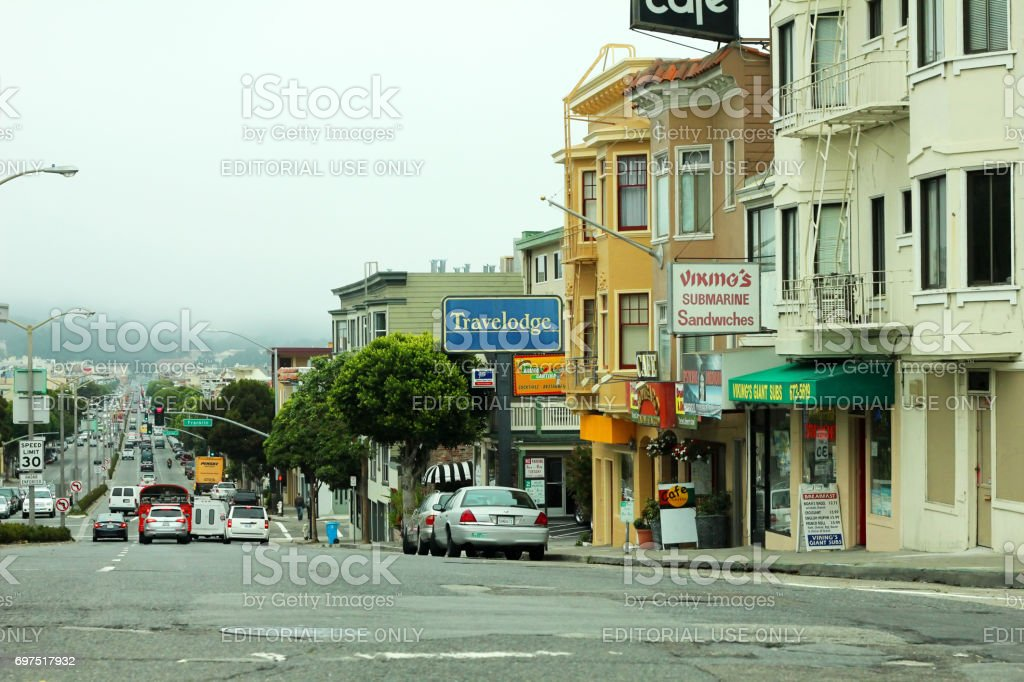 view of the street in the future with fog in the background, characteristic of San Francisco stock photo