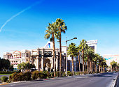 View of the street of Las Vegas in the daytime, Las Vegas, Nevada, USA. Copy space for text.