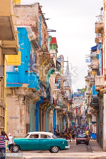 View of the street of old Havana, Cuba. Copy space. Vertical.