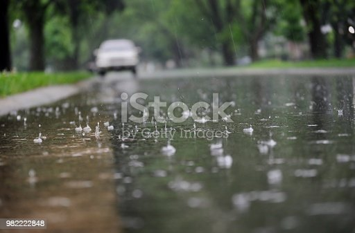 istock View of the street surface during rain. 982222848