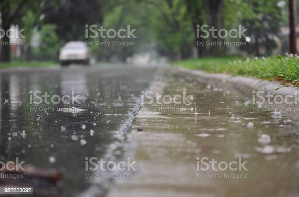 Photo of View of the street surface during rain.