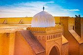 View of the stunning Great Mosque of Kairouan, Tunisia. Beautiful muslim architecture