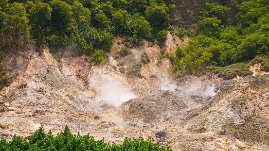 View of the Sulphur Springs Drive-in Volcano near Soufriere Saint Lucia