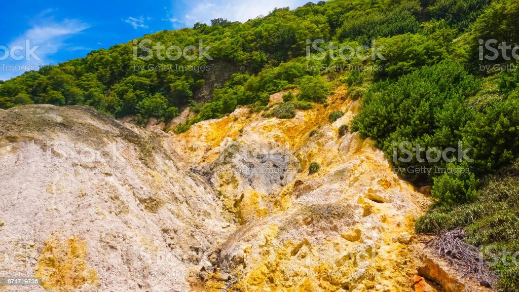 View of the Sulphur Springs Drive-in Volcano near Soufriere Saint Lucia stock photo
