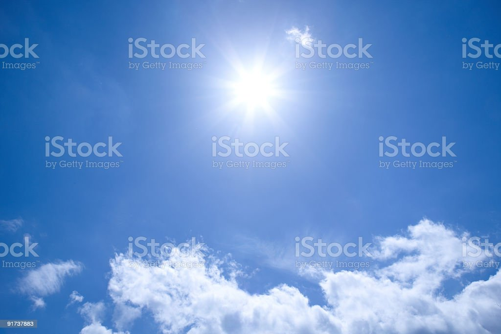 A view of the sun in a clear blue sky royalty-free stock photo